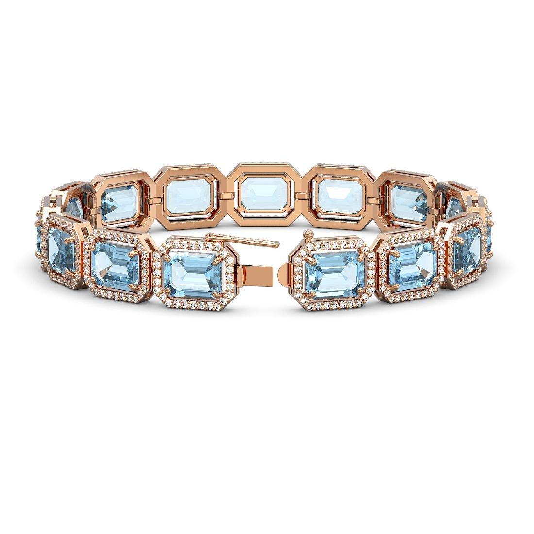 35.61 CTW Sky Topaz & Diamond Halo Bracelet 10K Rose - 2