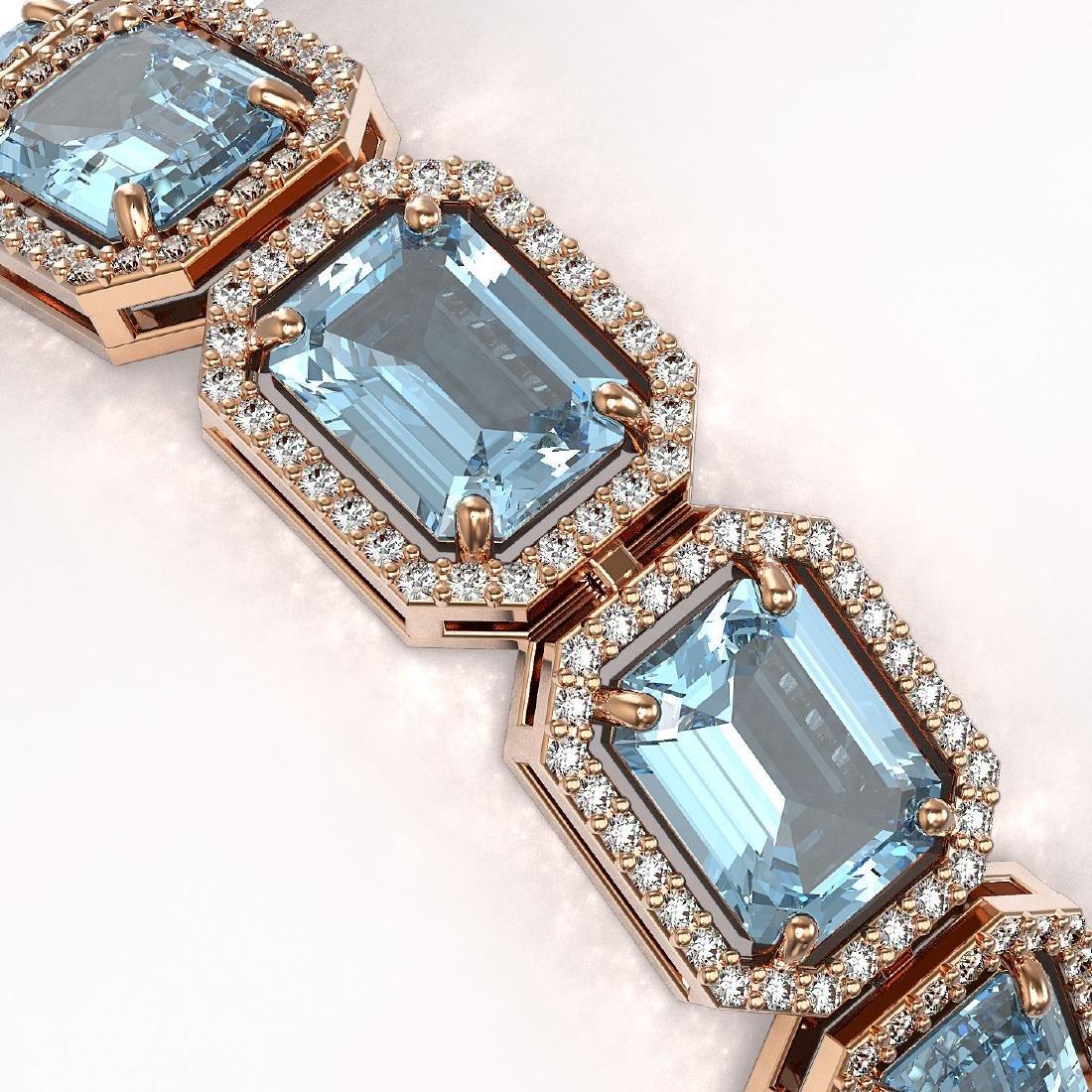 35.61 CTW Sky Topaz & Diamond Halo Bracelet 10K Rose - 3