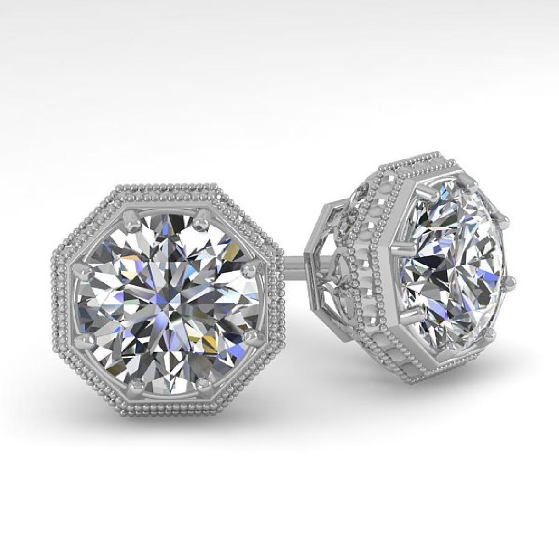 2 CTW VS/SI Diamond Stud Solitaire Earrings 18K White