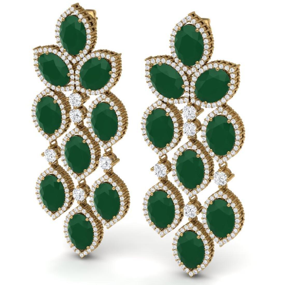 26.15 CTW Royalty Emerald & VS Diamond Earrings 18K - 2