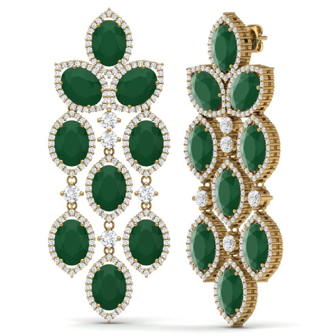 26.15 CTW Royalty Emerald & VS Diamond Earrings 18K - 3