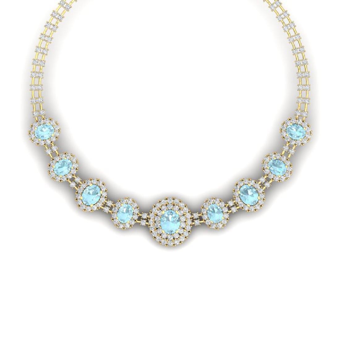 47.10 CTW Royalty Sky Topaz & VS Diamond Necklace 18K