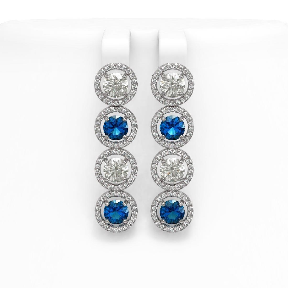 6.25 CTW Blue & White Diamond Designer Earrings 18K