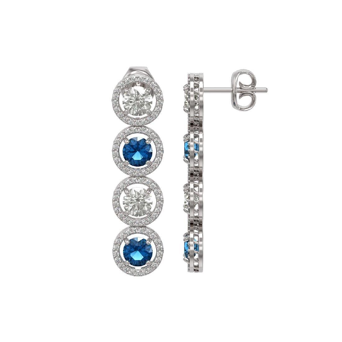 6.25 CTW Blue & White Diamond Designer Earrings 18K - 2
