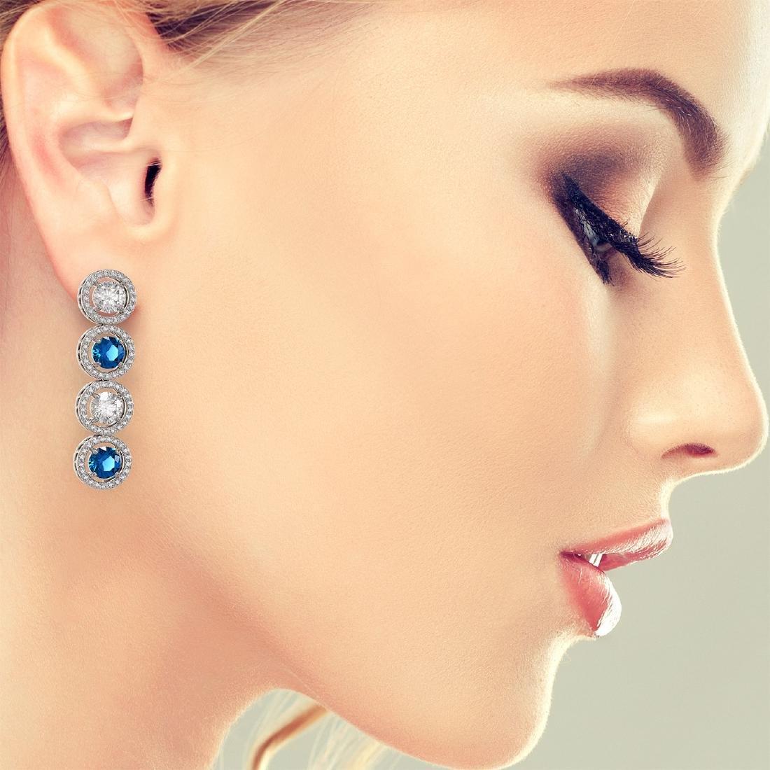 6.25 CTW Blue & White Diamond Designer Earrings 18K - 3