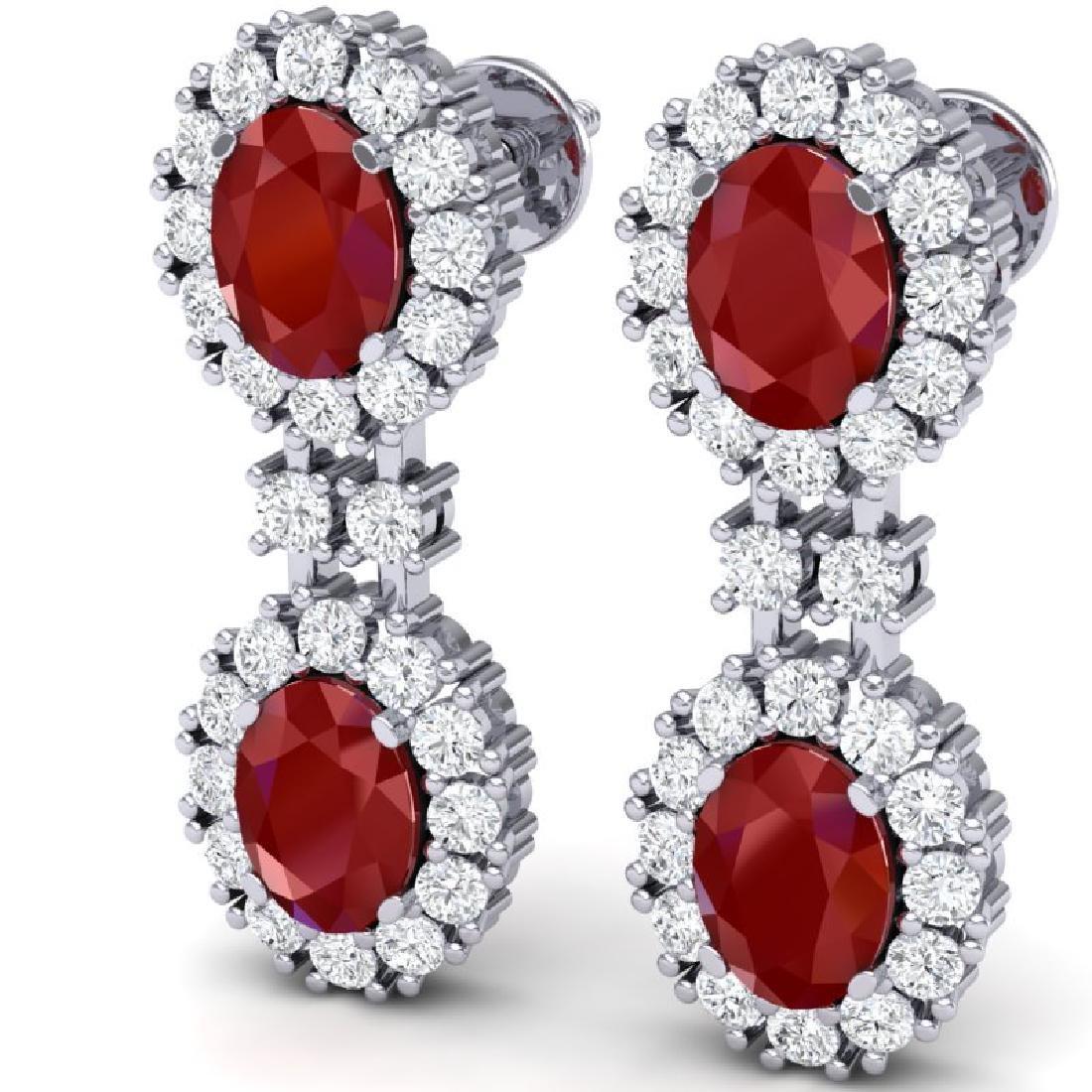 8.98 CTW Royalty Designer Ruby & VS Diamond Earrings - 2