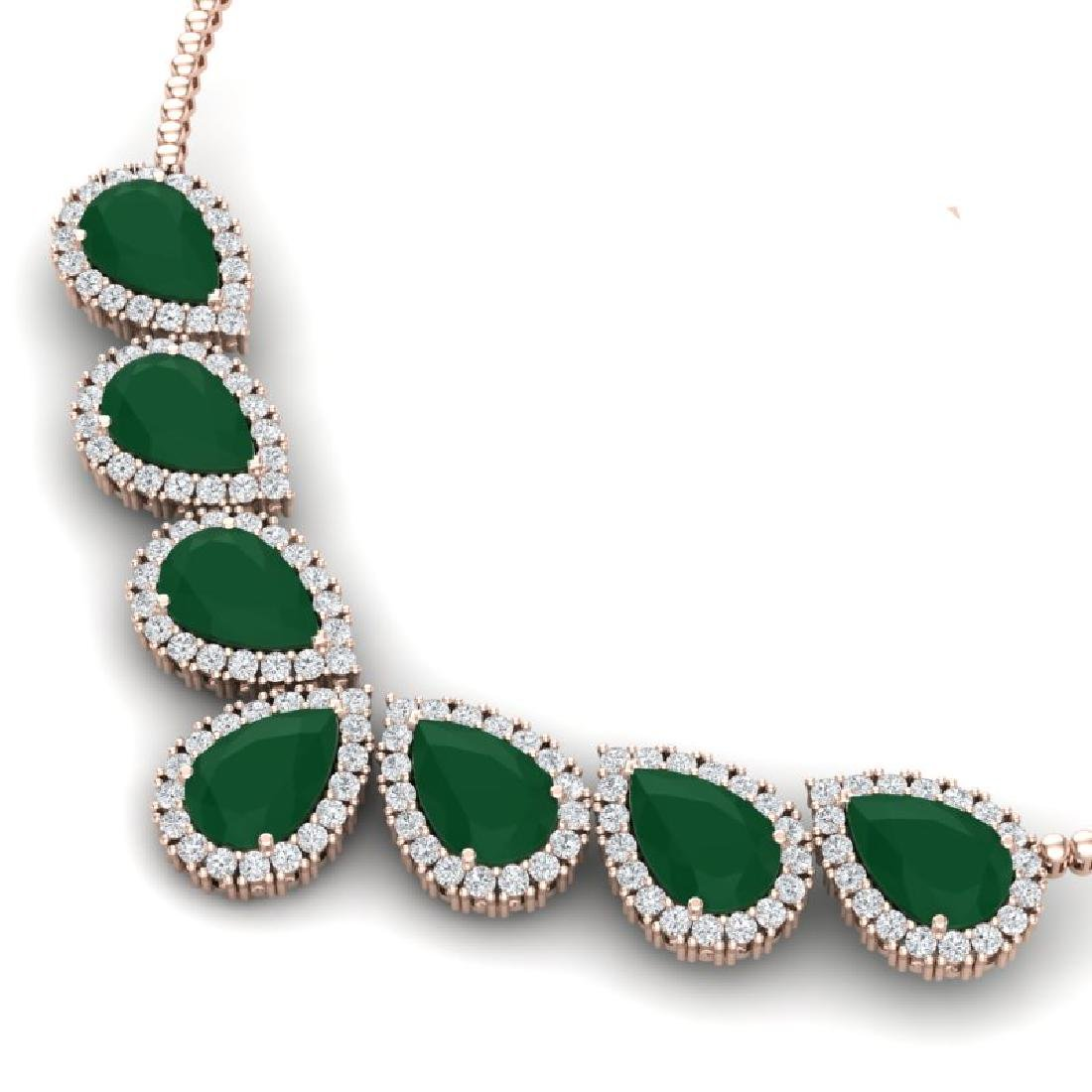 34.72 CTW Royalty Emerald & VS Diamond Necklace 18K - 2