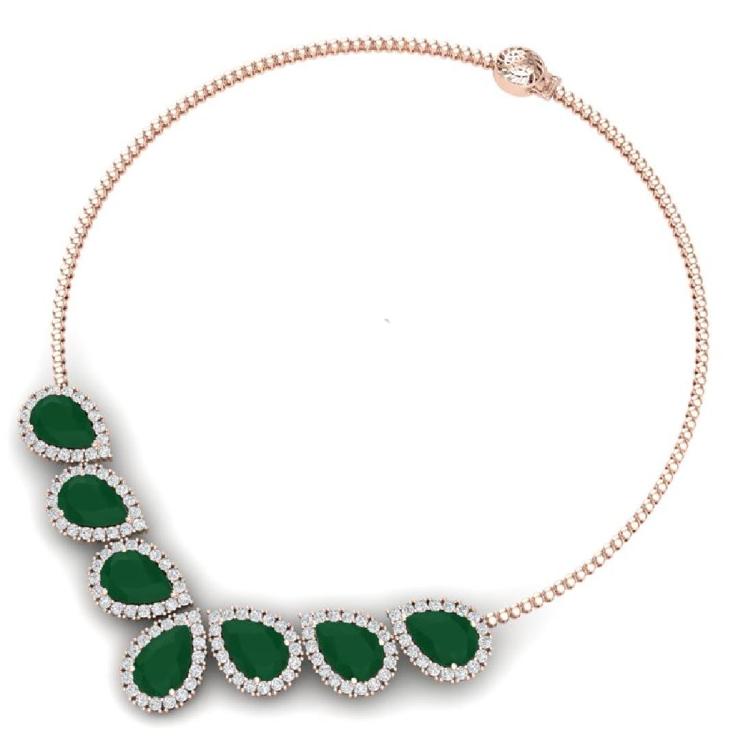 34.72 CTW Royalty Emerald & VS Diamond Necklace 18K - 3