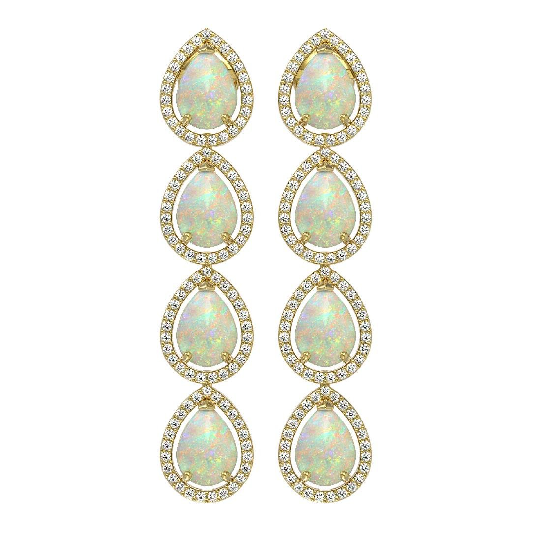 9.12 CTW Opal & Diamond Halo Earrings 10K Yellow Gold