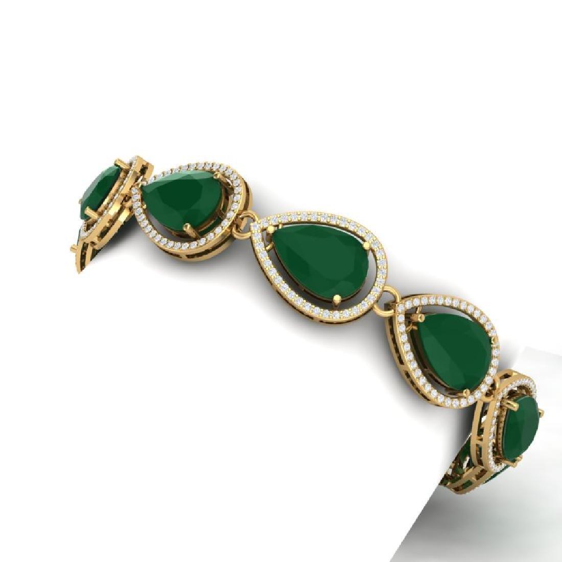 28.31 CTW Royalty Emerald & VS Diamond Bracelet 18K - 2