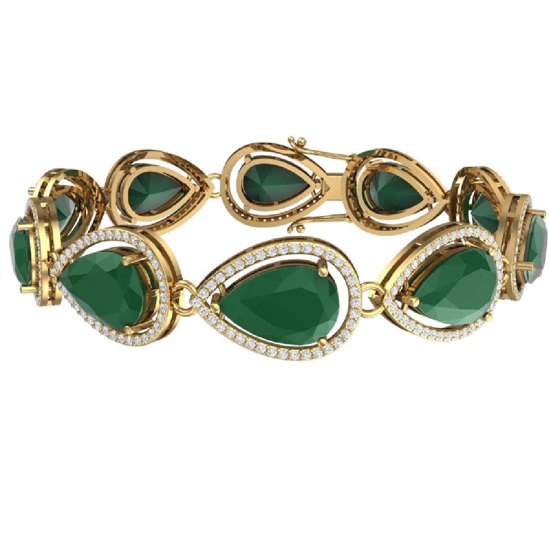 28.31 CTW Royalty Emerald & VS Diamond Bracelet 18K - 3