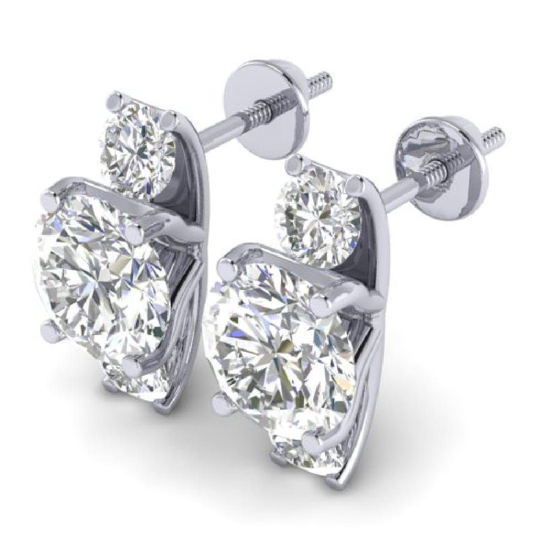 2.9 CTW Certified VS/SI Diamond 3 Stone Stud Earrings - 2