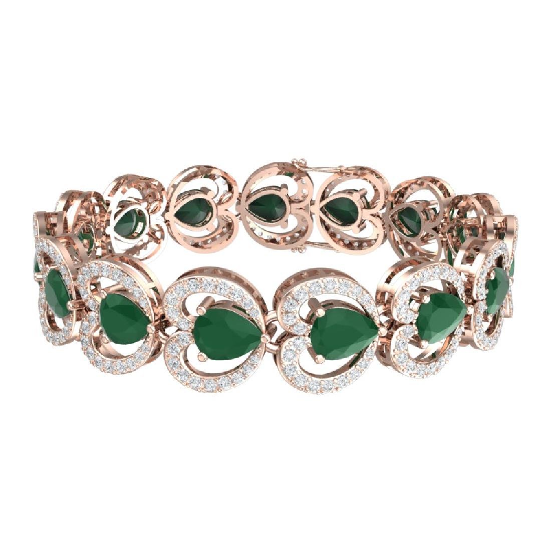 32.15 CTW Royalty Emerald & VS Diamond Bracelet 18K - 3