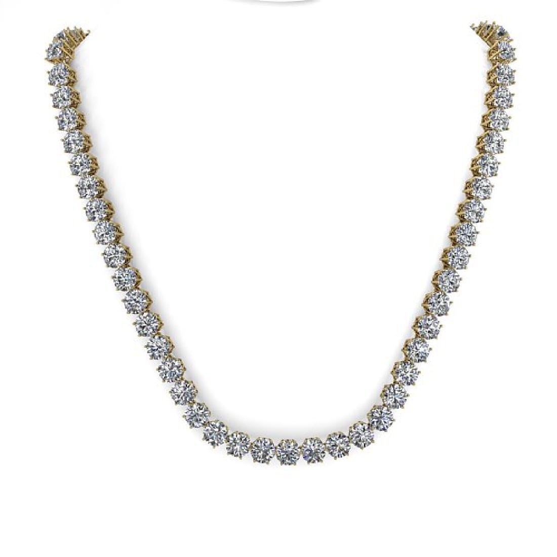 29 CTW SI Certified Diamond Necklace 18K Yellow Gold - 3