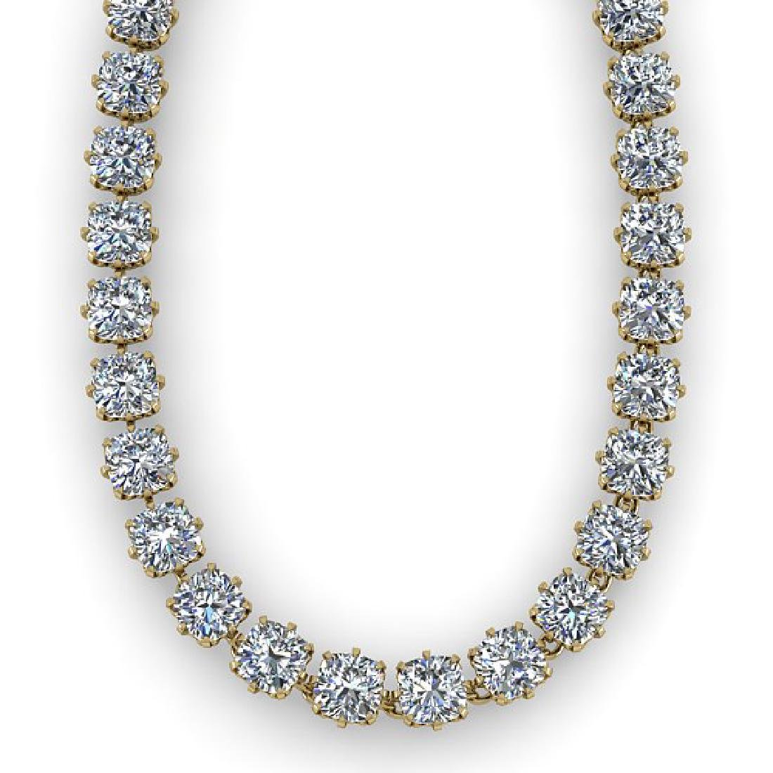28 CTW Oval Cut SI Certified Diamond Necklace 14K - 2