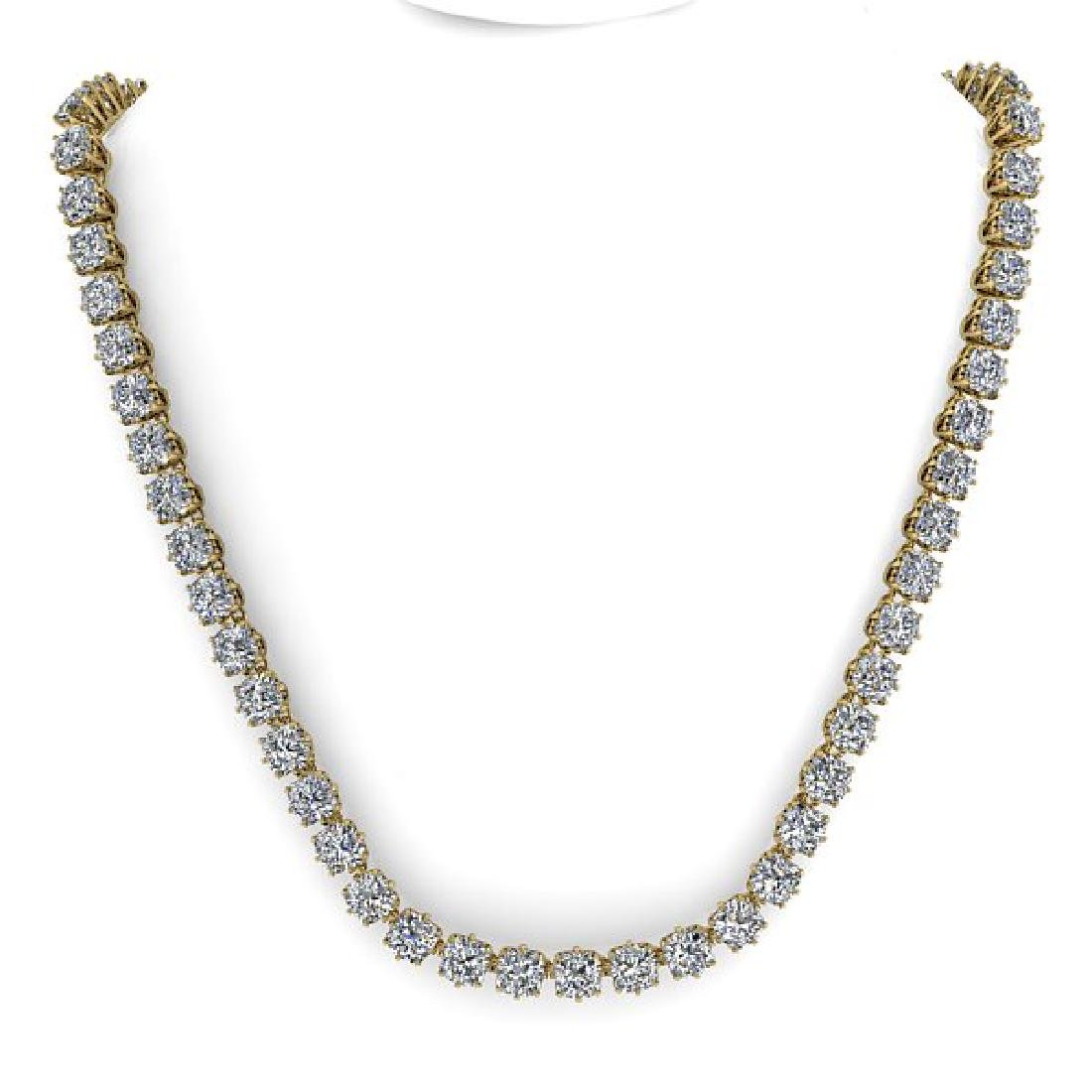 28 CTW Oval Cut SI Certified Diamond Necklace 14K - 3
