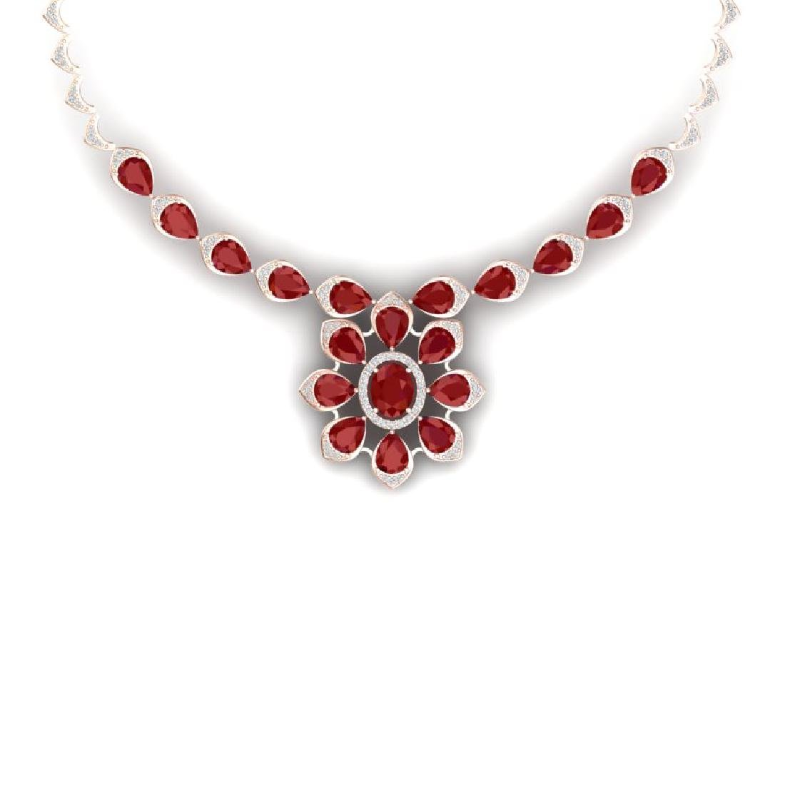 30.70 CTW Royalty Ruby & VS Diamond Necklace 18K Rose