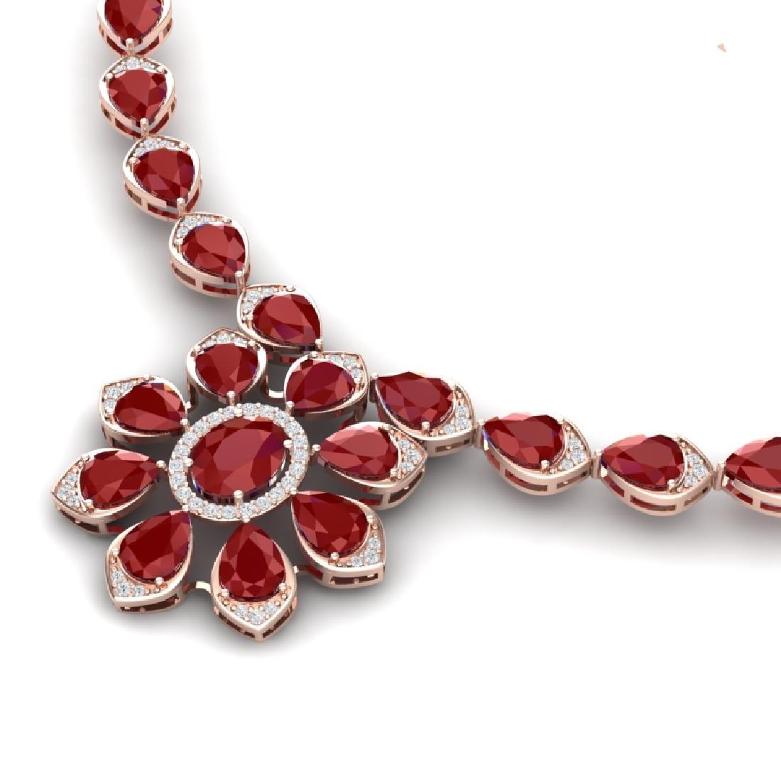 30.70 CTW Royalty Ruby & VS Diamond Necklace 18K Rose - 2