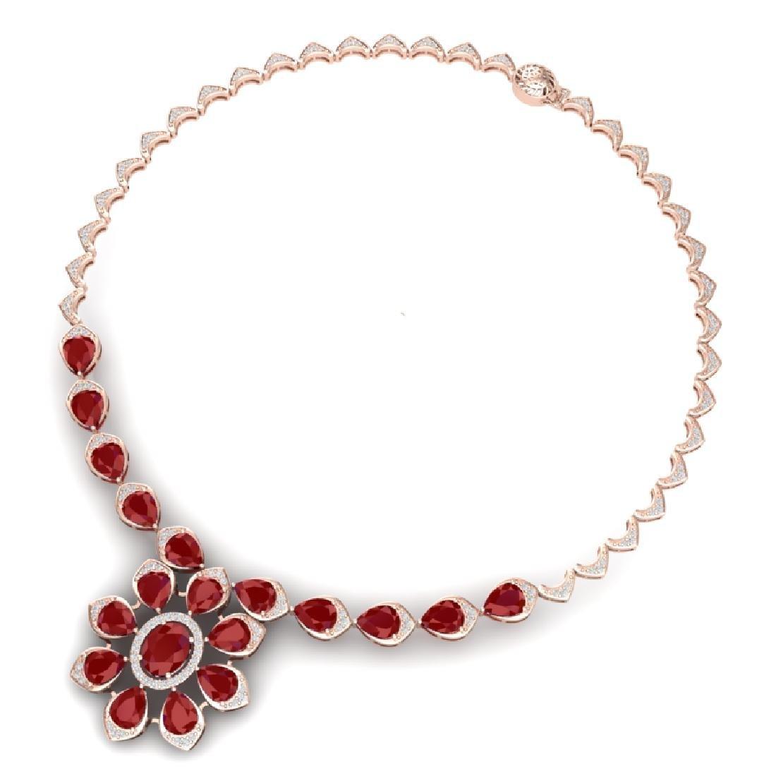 30.70 CTW Royalty Ruby & VS Diamond Necklace 18K Rose - 3