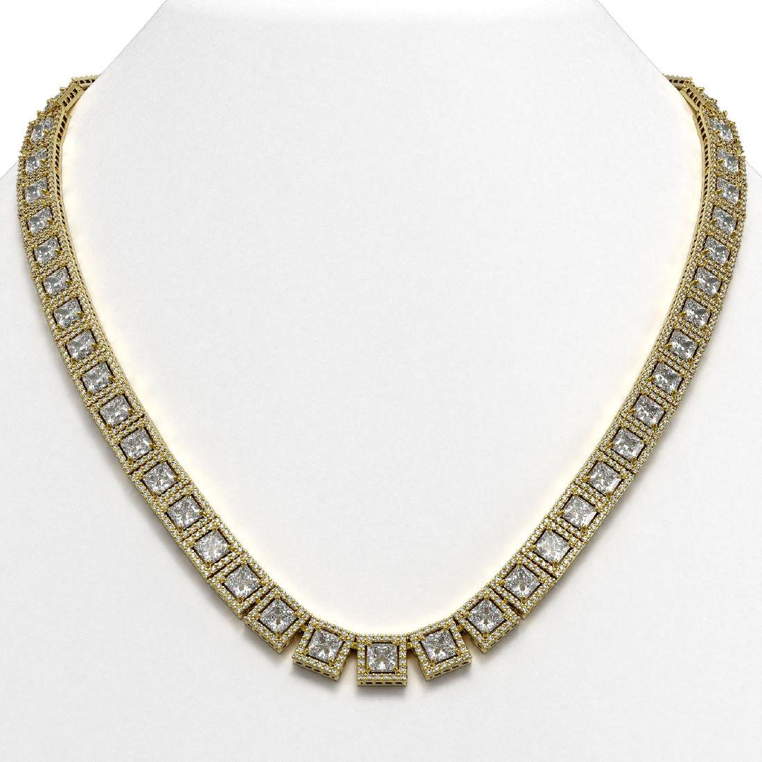 41.80 CTW Princess Diamond Designer Necklace 18K Yellow