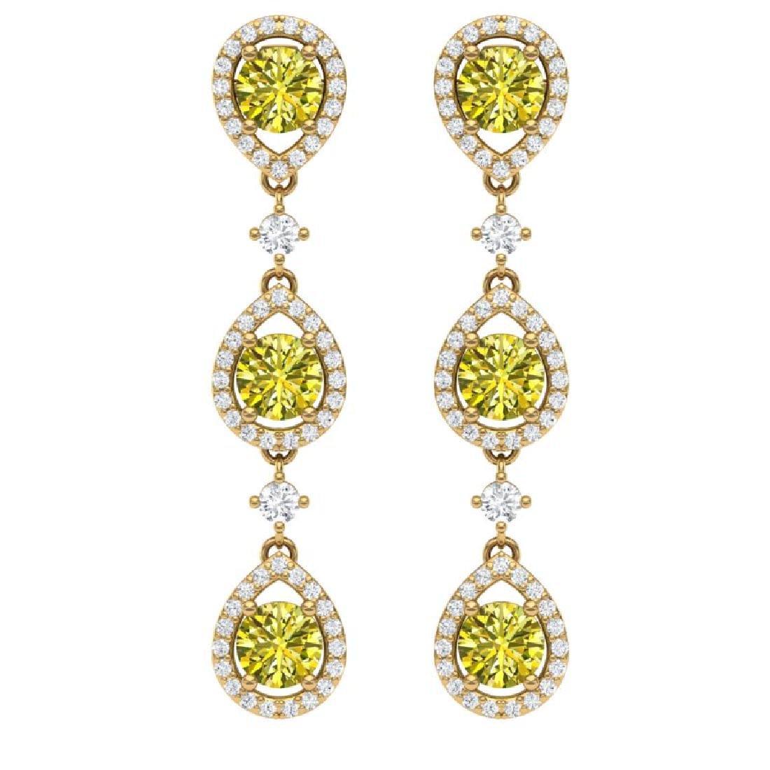 5.11 CTW Fancy Yellow SI Diamond Earrings 18K Yellow