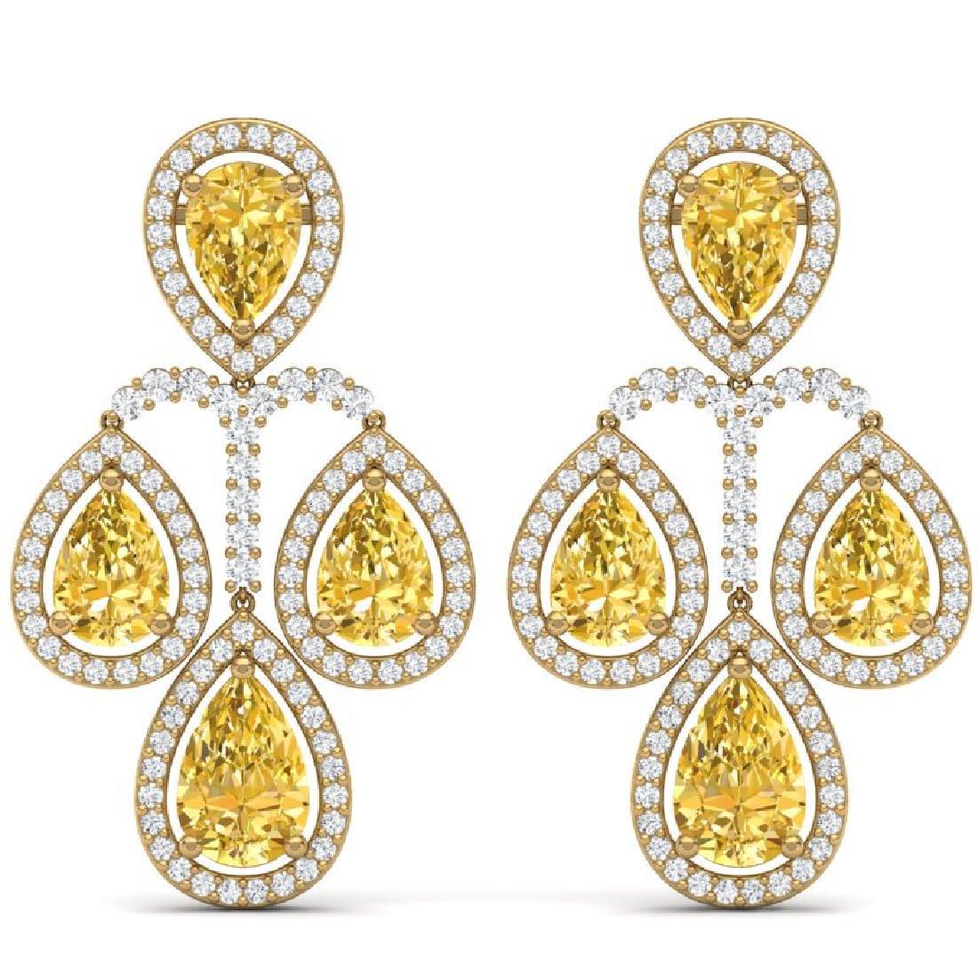 27.85 CTW Royalty Canary Citrine & VS Diamond Earrings