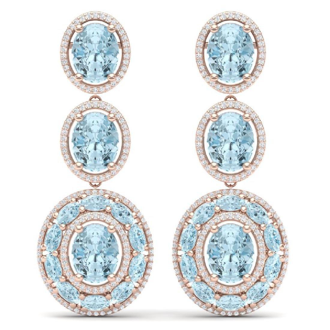34.52 CTW Royalty Sky Topaz & VS Diamond Earrings 18K