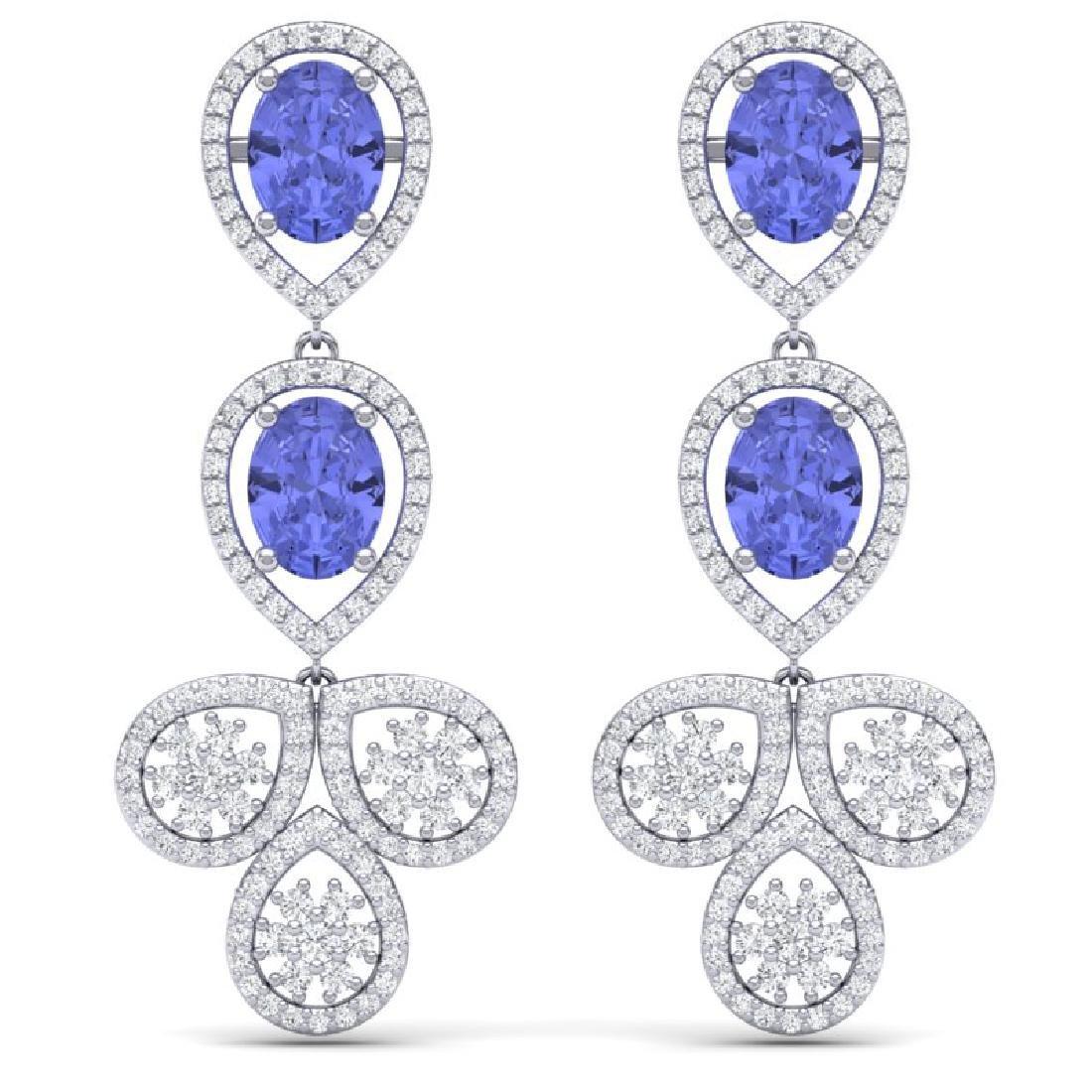 8.75 CTW Royalty Tanzanite & VS Diamond Earrings 18K
