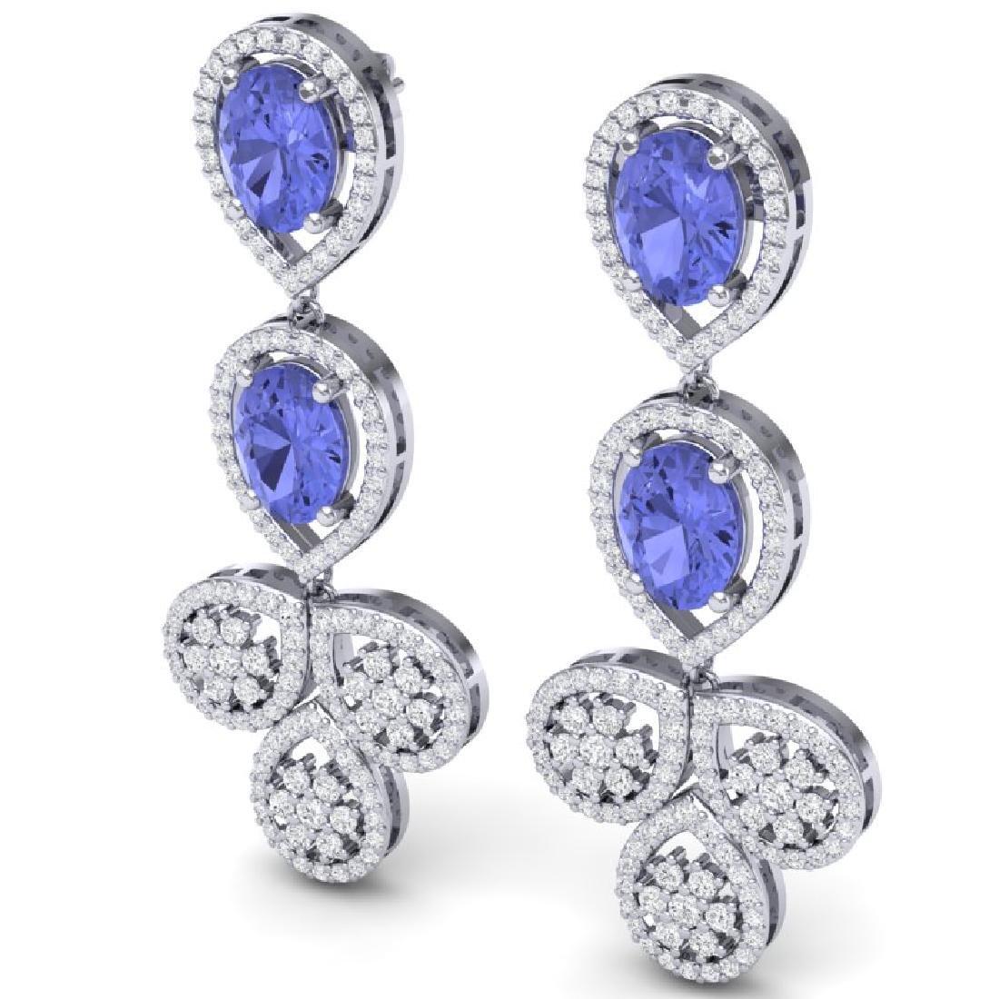8.75 CTW Royalty Tanzanite & VS Diamond Earrings 18K - 2