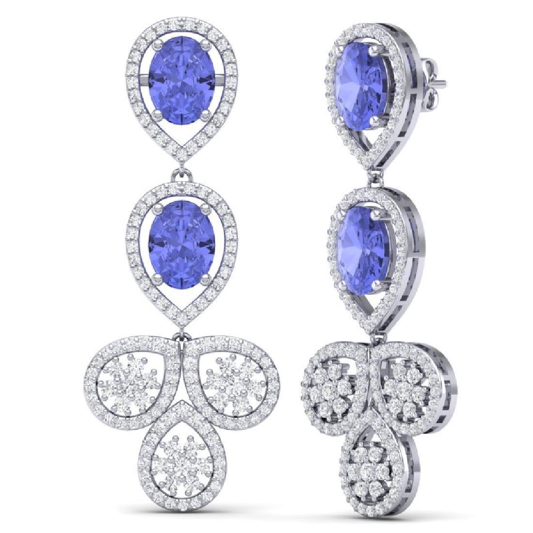 8.75 CTW Royalty Tanzanite & VS Diamond Earrings 18K - 3