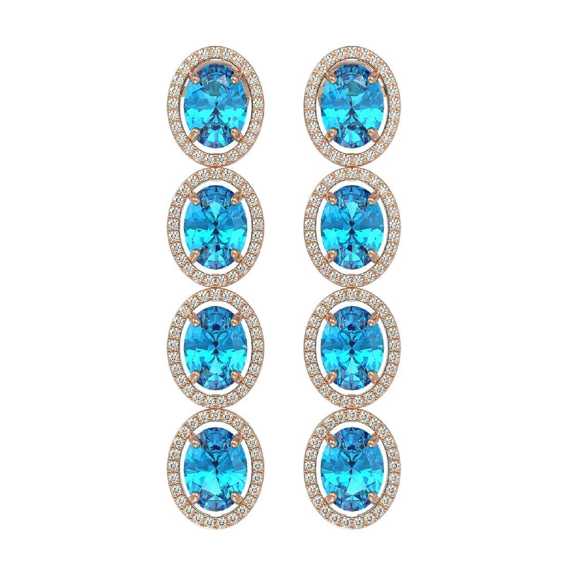 14.76 CTW Swiss Topaz & Diamond Halo Earrings 10K Rose