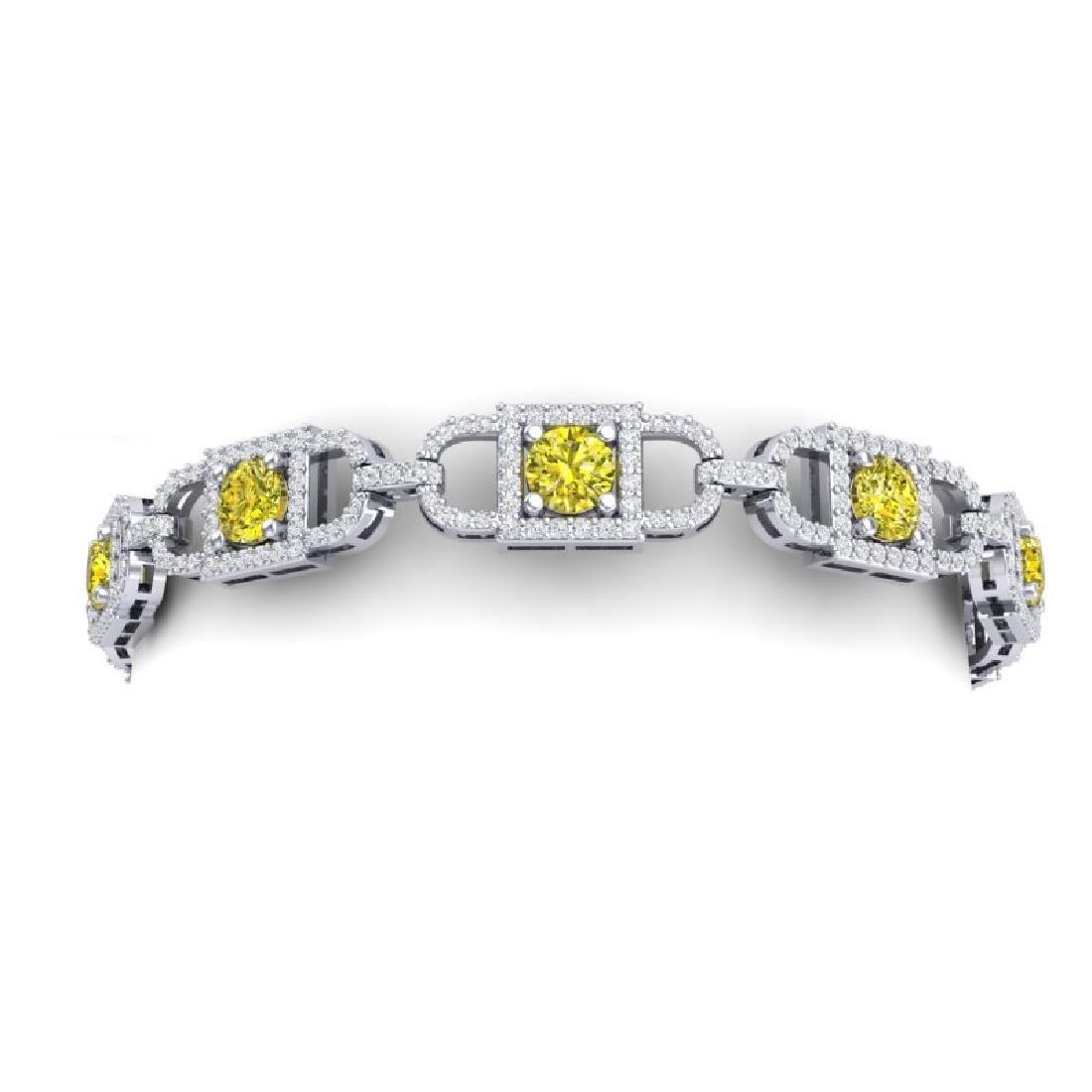 8 CTW SI/I Fancy Yellow And White Diamond Bracelet 18K - 2