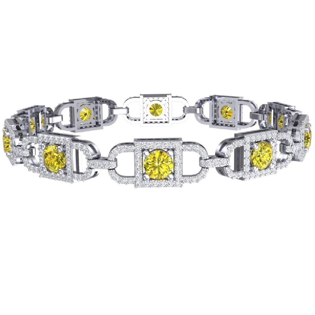8 CTW SI/I Fancy Yellow And White Diamond Bracelet 18K - 3