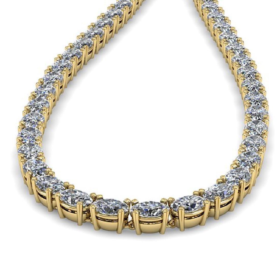 26 CTW Oval Cut Certified SI Diamond Necklace 18K - 2