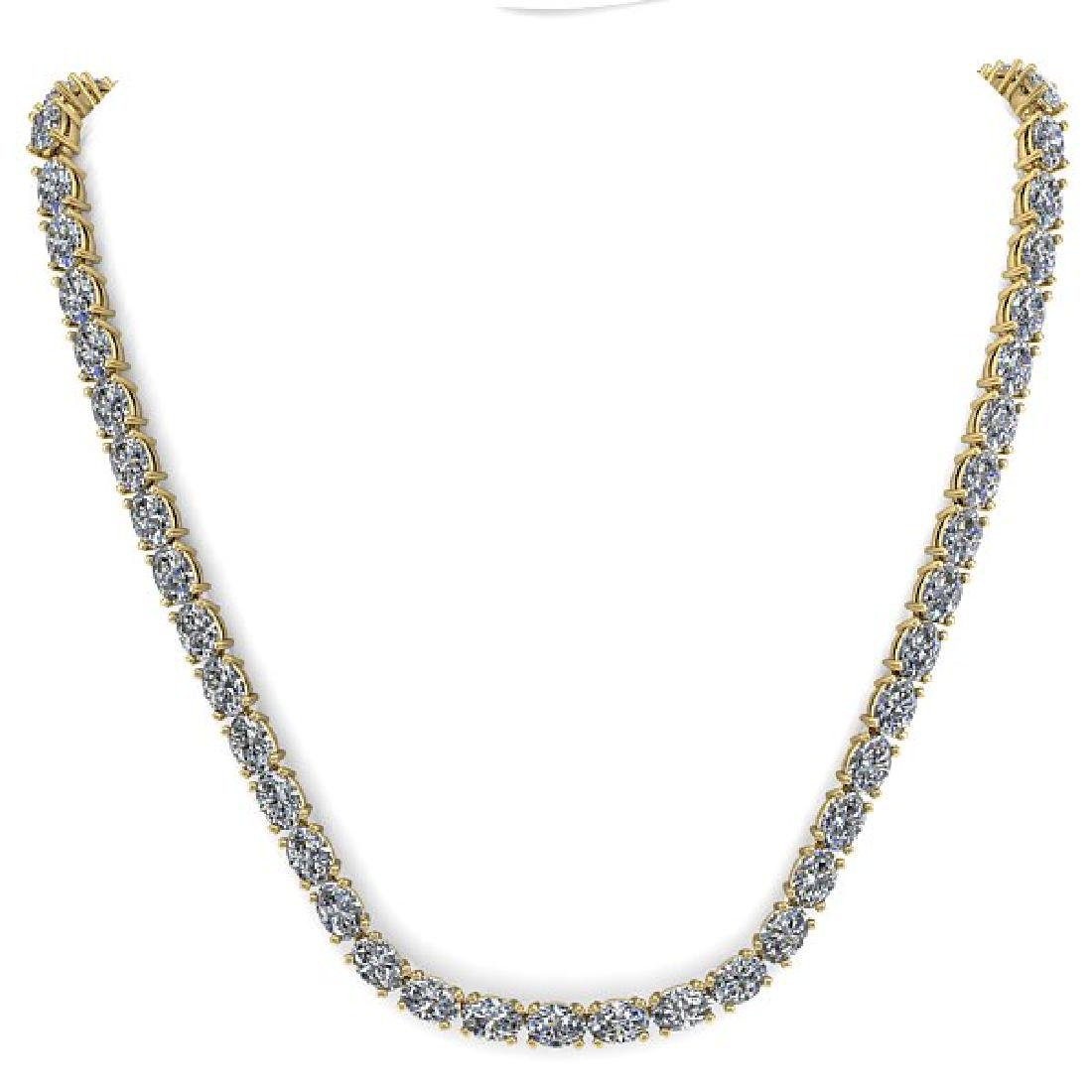 26 CTW Oval Cut Certified SI Diamond Necklace 18K - 3