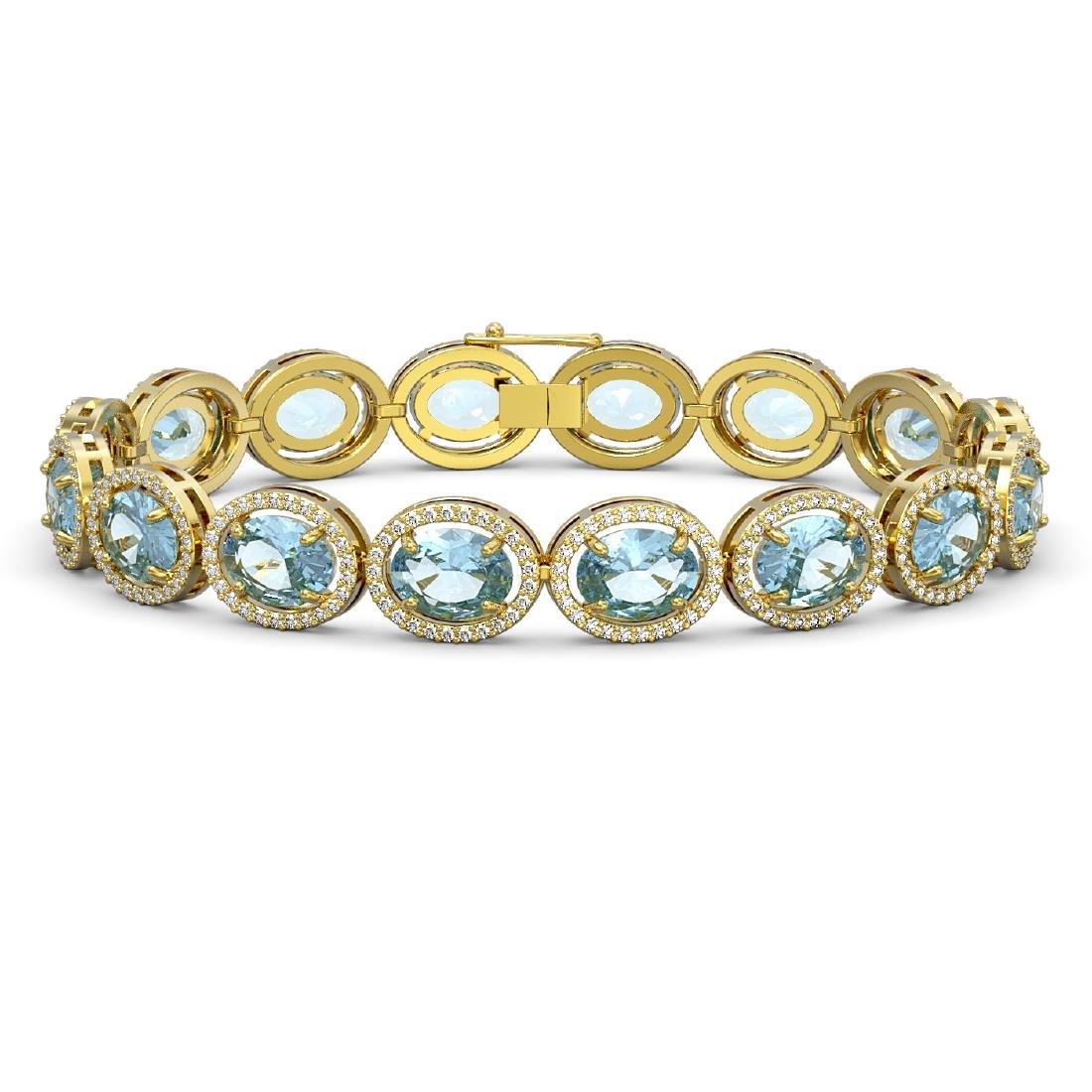 23.44 CTW Aquamarine & Diamond Halo Bracelet 10K Yellow