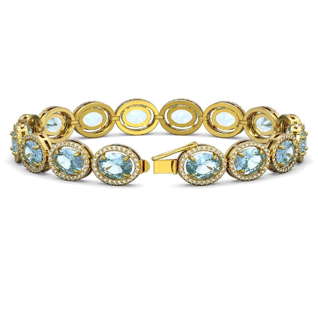 23.44 CTW Aquamarine & Diamond Halo Bracelet 10K Yellow - 2