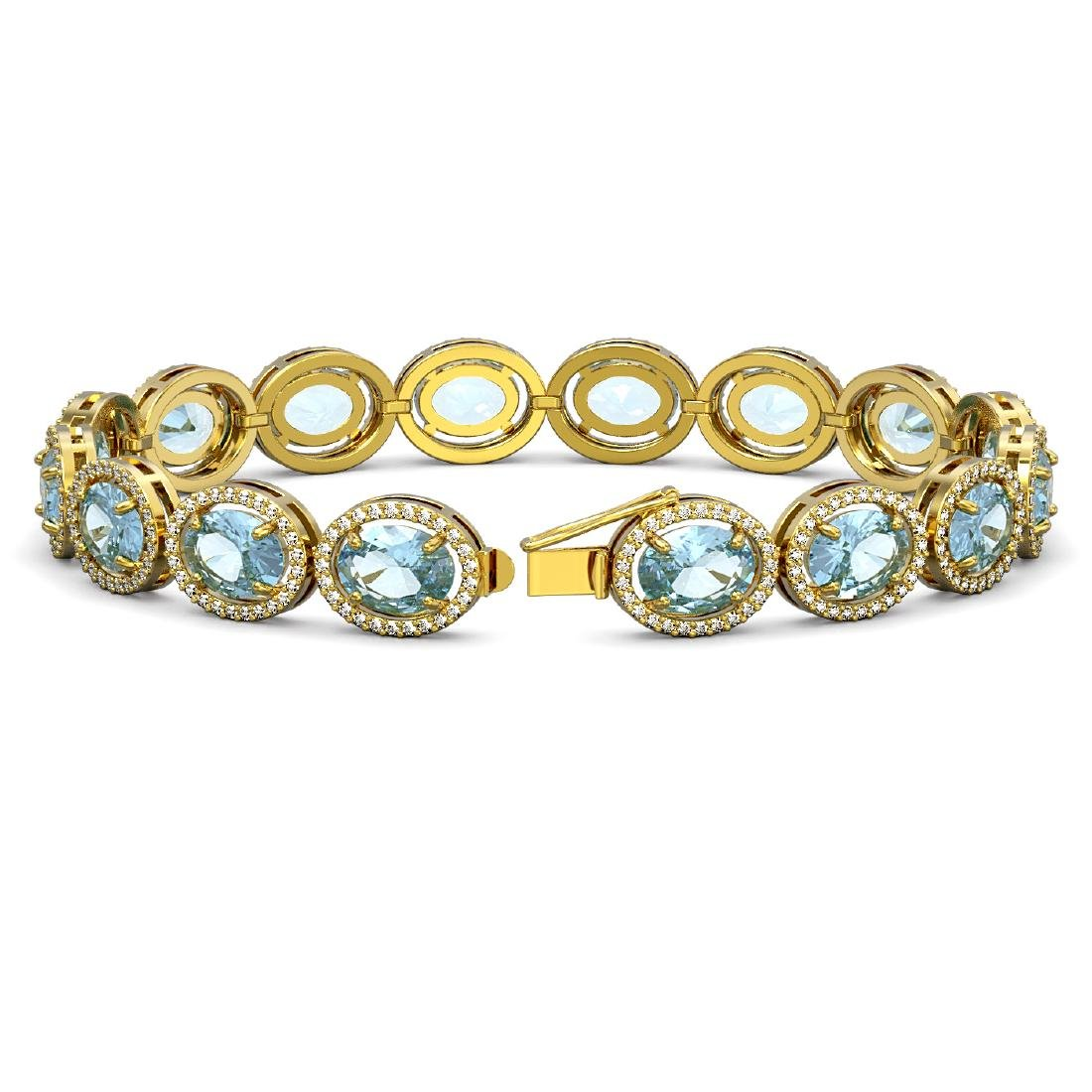 23.44 CTW Aquamarine & Diamond Halo Bracelet 10K Yellow - 2