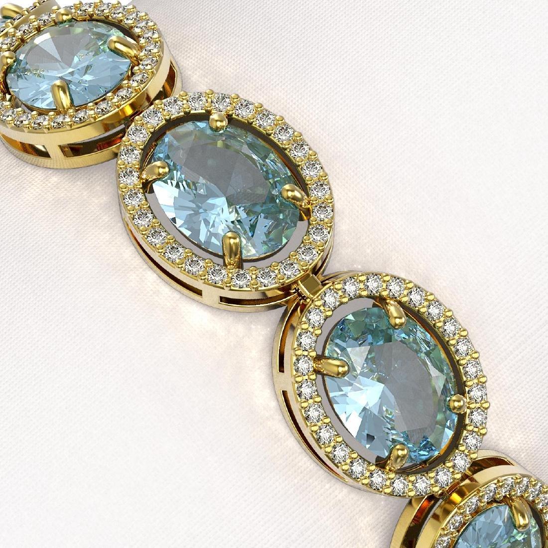 23.44 CTW Aquamarine & Diamond Halo Bracelet 10K Yellow - 3