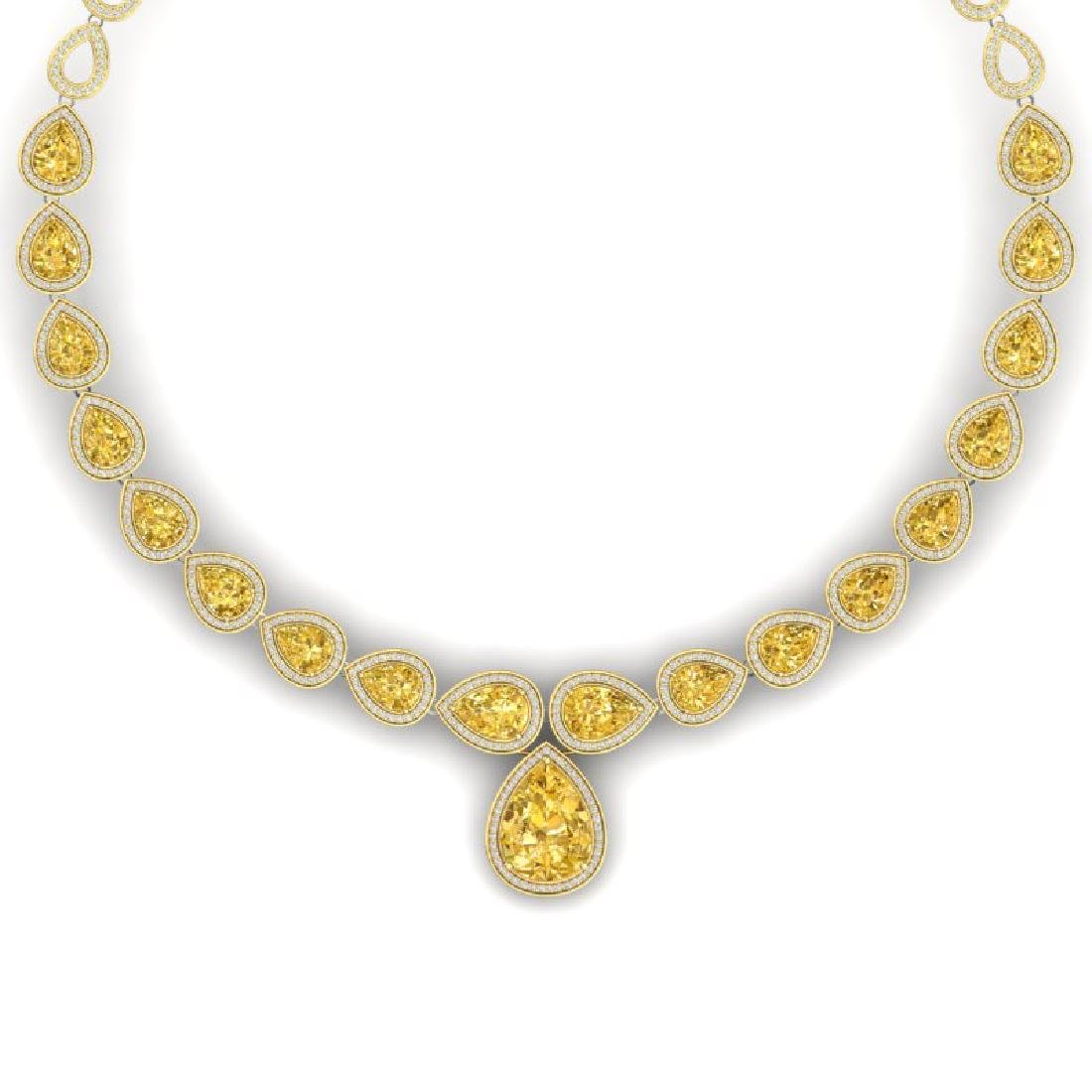 48.24 CTW Royalty Canary Citrine & VS Diamond Necklace