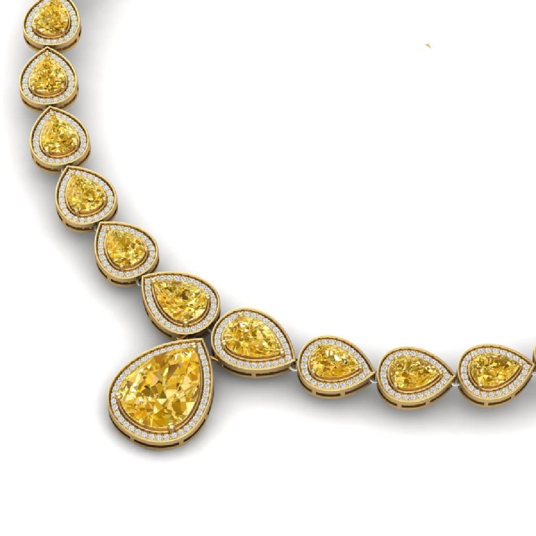48.24 CTW Royalty Canary Citrine & VS Diamond Necklace - 2