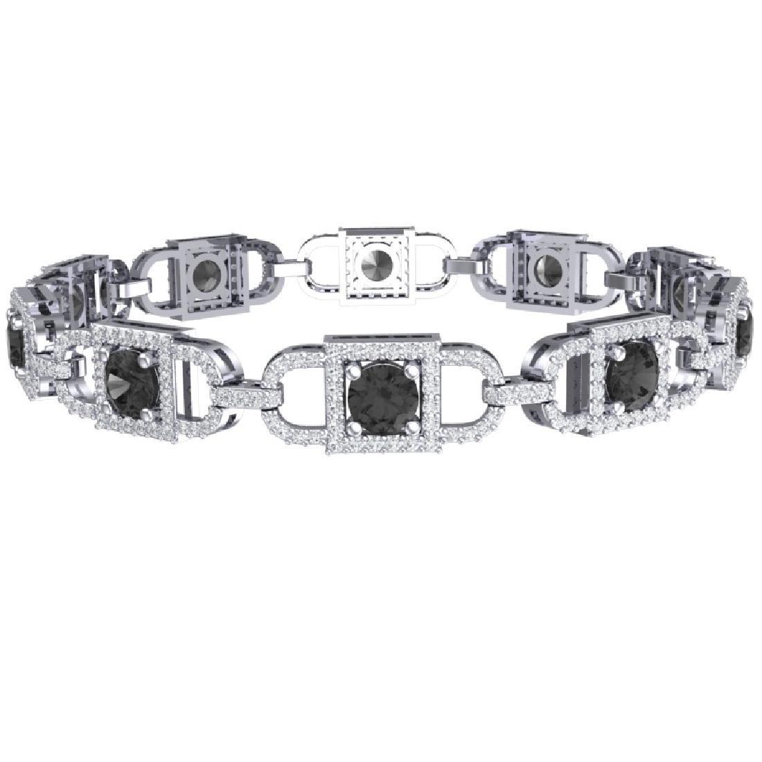 8 CTW Black And White Diamond Bracelet 18K White Gold - 3