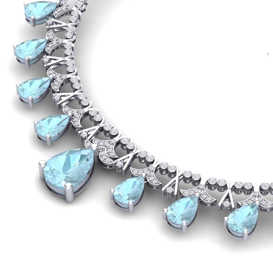 60.62 CTW Royalty Sky Topaz & VS Diamond Necklace 18K - 2