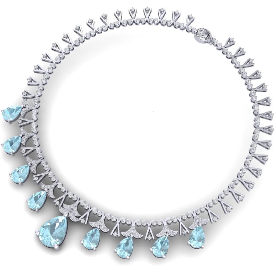 60.62 CTW Royalty Sky Topaz & VS Diamond Necklace 18K - 3