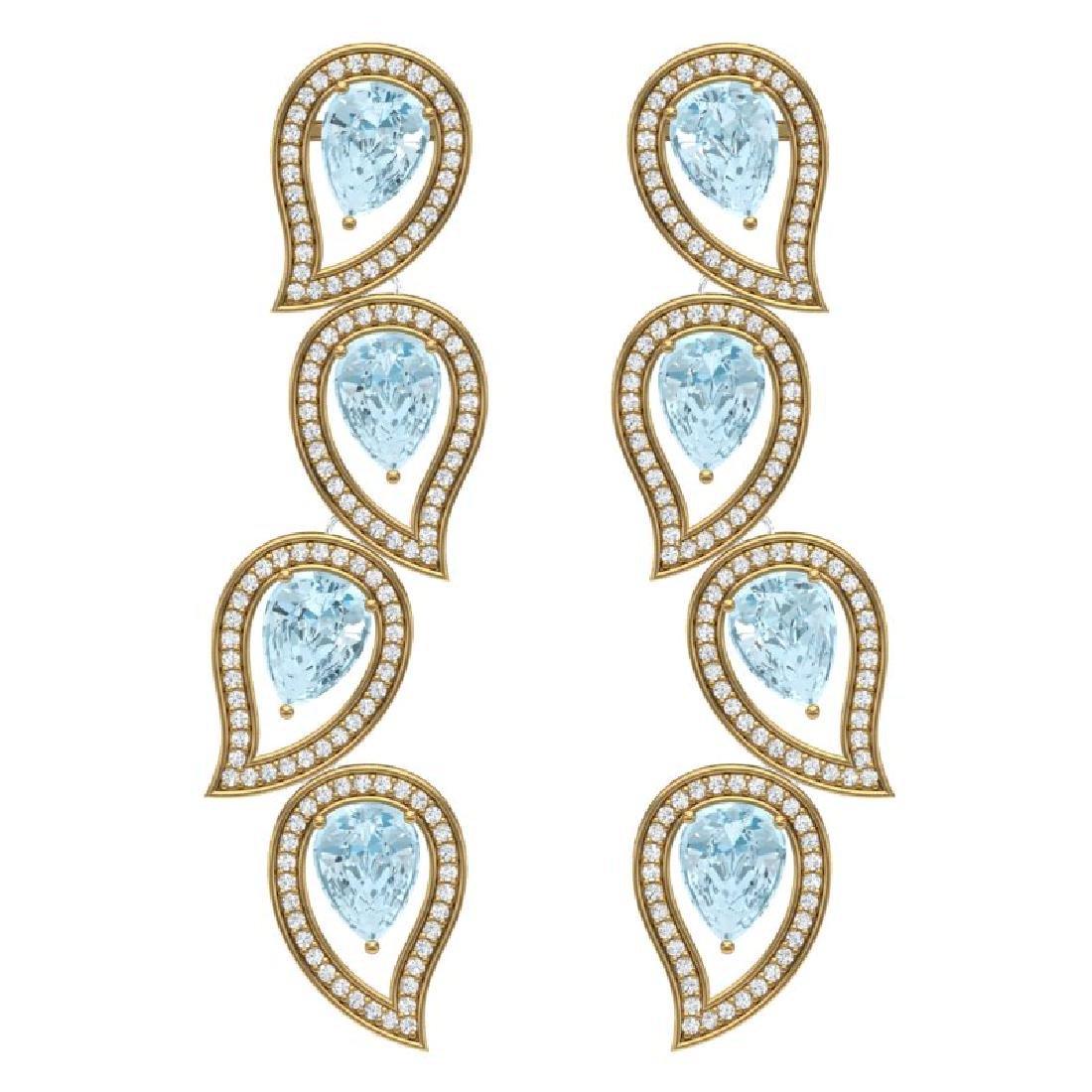 15.69 CTW Royalty Sky Topaz & VS Diamond Earrings 18K