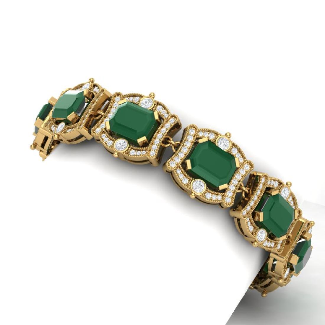43.87 CTW Royalty Emerald & VS Diamond Bracelet 18K - 2