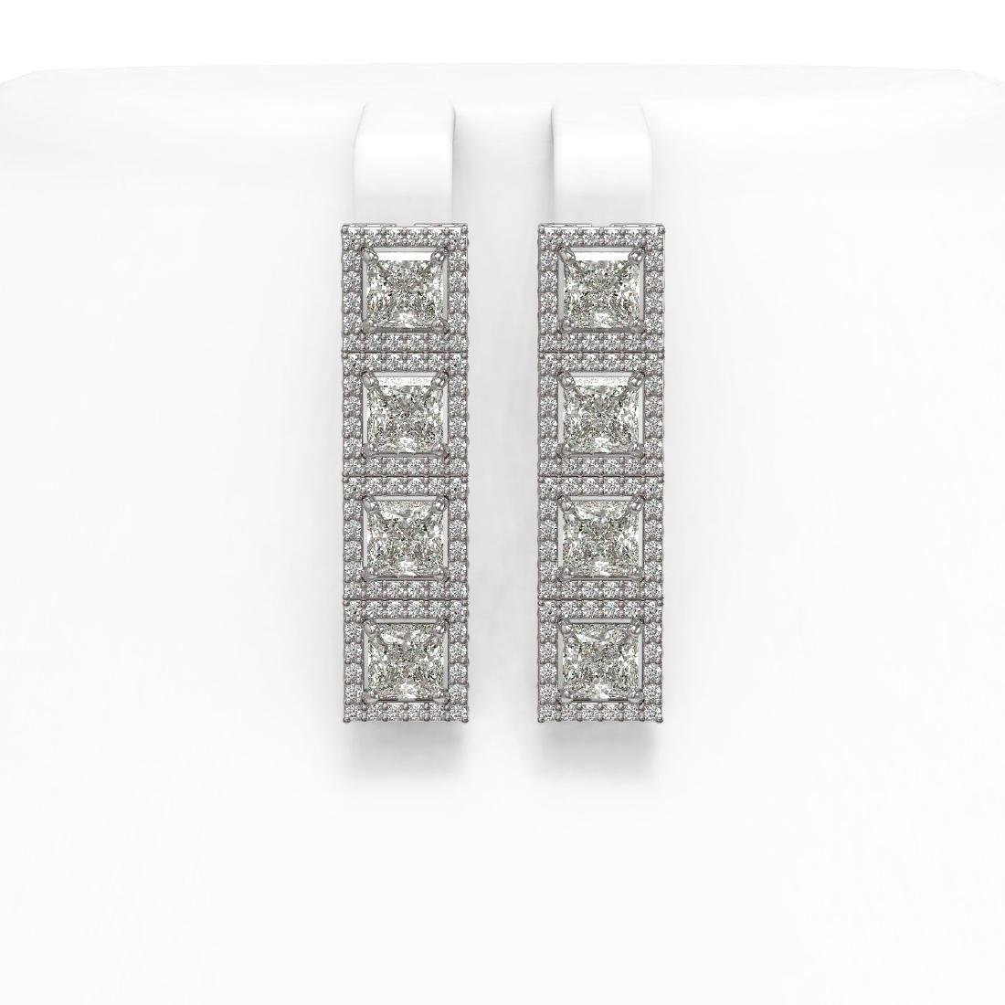 6.08 CTW Princess Diamond Designer Earrings 18K White