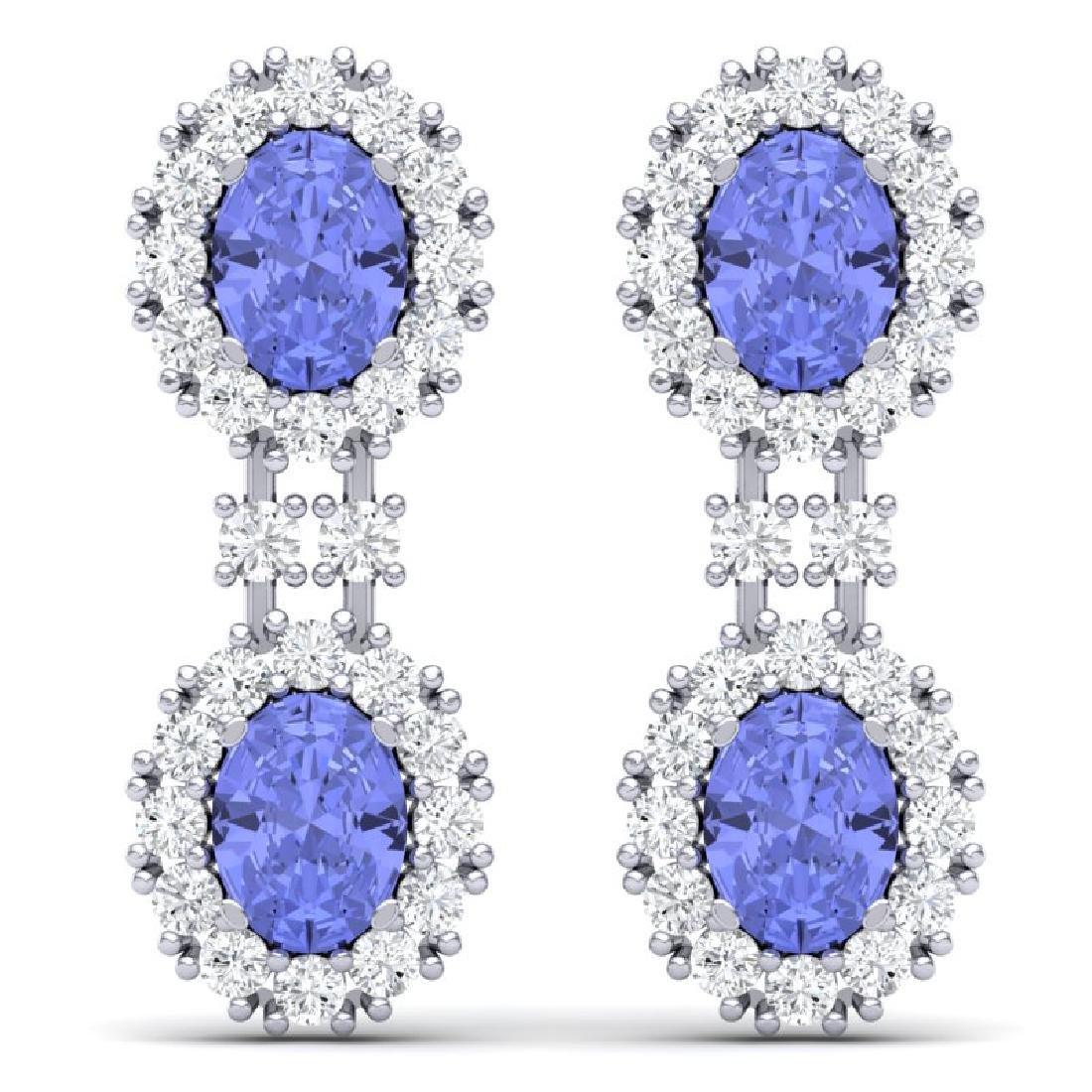 8.35 CTW Royalty Tanzanite & VS Diamond Earrings 18K