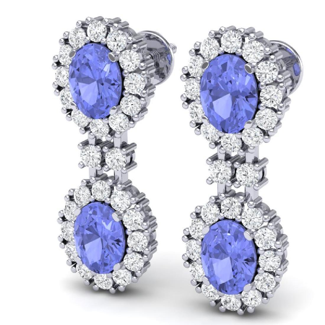 8.35 CTW Royalty Tanzanite & VS Diamond Earrings 18K - 2