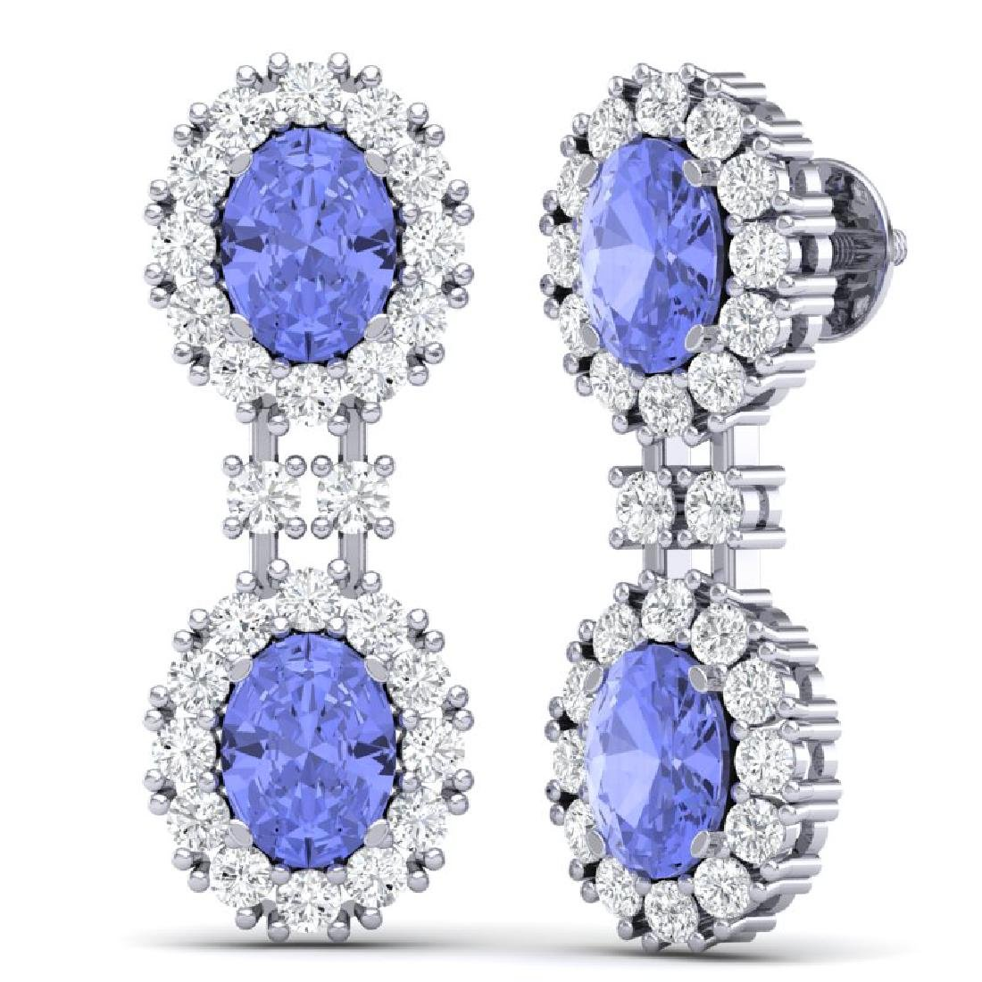8.35 CTW Royalty Tanzanite & VS Diamond Earrings 18K - 3